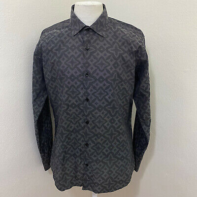 JARED LANG MEN'S PSYCHEDELIC PATTERN LONG SLEEVE CASUAL SHIRT SIZE L A83-26