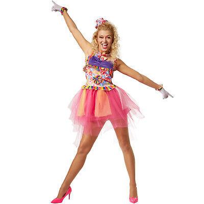 tar 80er 70er Jahre Neon Flower Power bunt Tutu Tüll Karnaval (70er Jahre Kostüm Frauen)