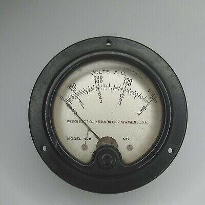 Weston Electric Instrument 476 Volts A.c. Vintage Panel Mount Gauge