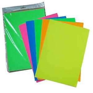 50 Sheets A4 Premium FLUORESCENT Neon Paper Scrapbooking Craft -  Mixed Colours