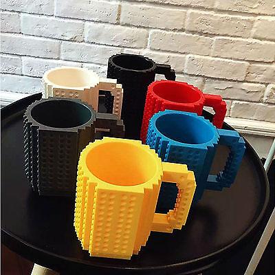 Build-On Fun Building Brick Coffee Mug Cup Compatible with Mega Blocks Kre-O