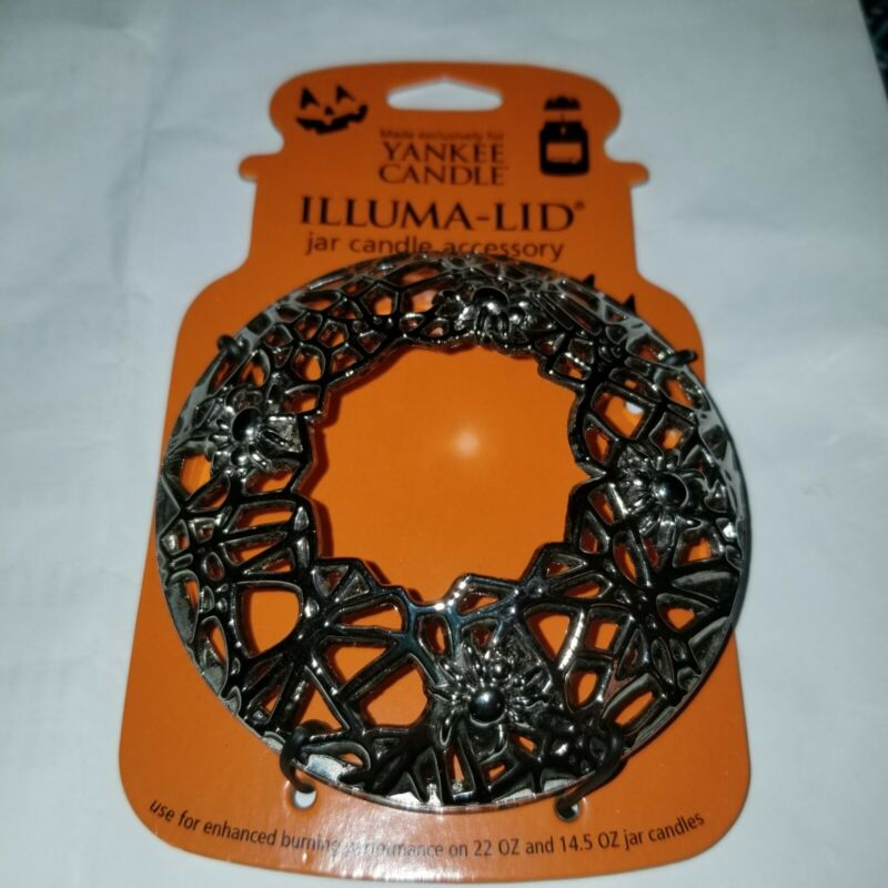 New Yankee Candle Halloween Chrome Spider Web Silver Dome Illuma Lid