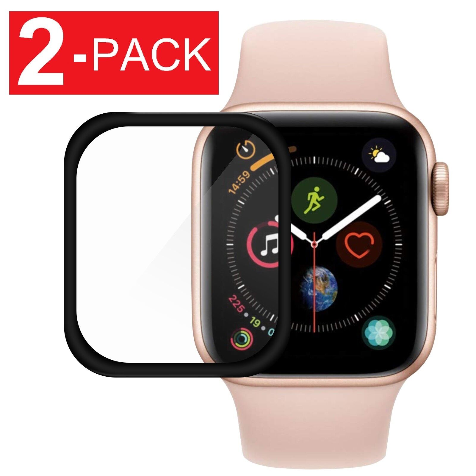 2-Pack For Apple Watch Series 4 40/44mm Full Tempered Glass