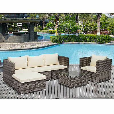 6PC Rattan Wicker Patio Furniture Set Outdoor Cushioned Sofa & Table Garden Lawn
