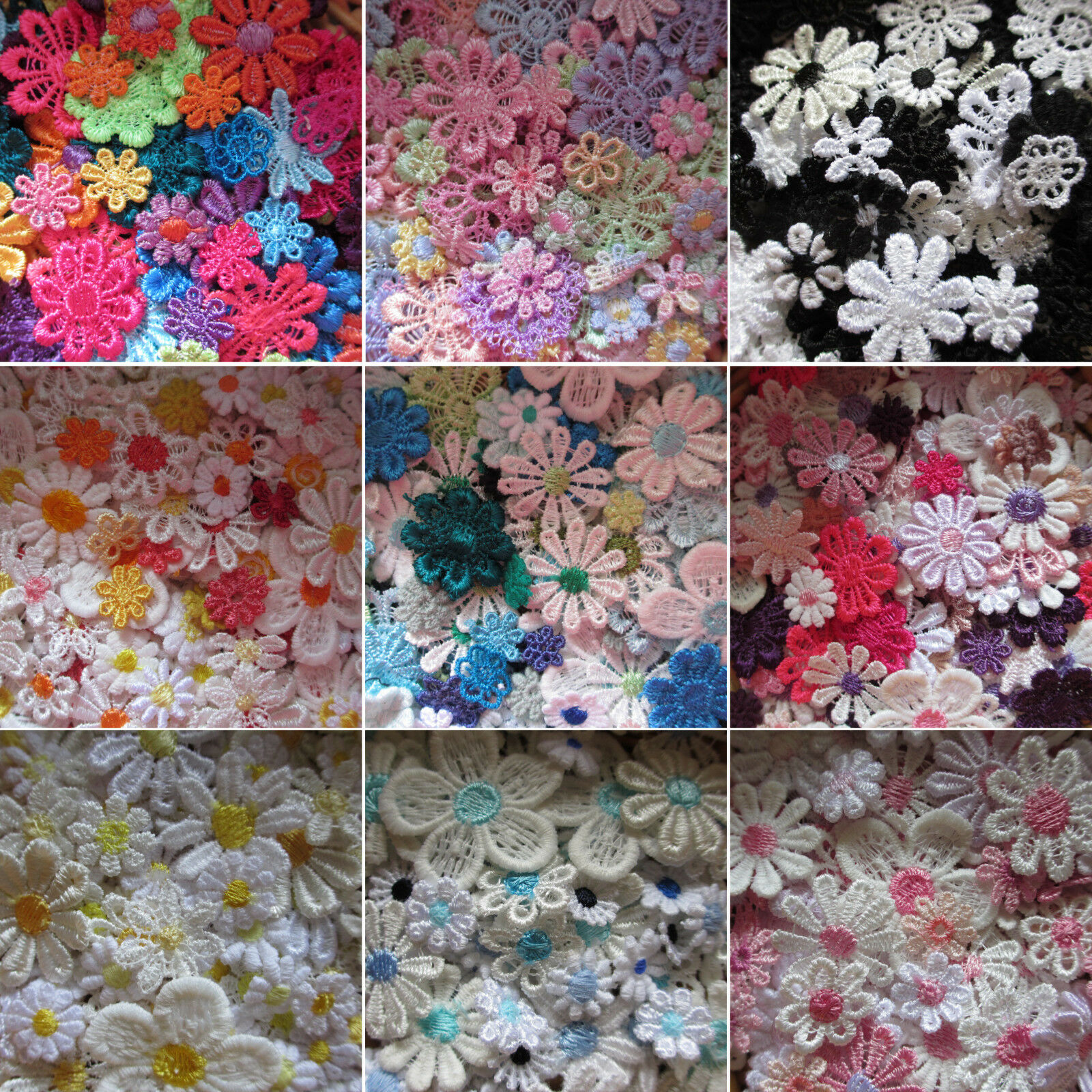WHITE LACE DAISY ASSORTED COLOUR CENTRE GUIPURE MOTIFS SEW ON FLOWER APPLIQUES