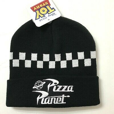 Black And White Checkered Hat (PIZZA PLANET TOY STORY BEANIE cuffed black white checkered winter knit hat)