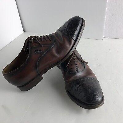 5e45015e9 Gucci Croc Skin Cap Toe Dress Shoes Mens 9 Crocodile Exotic Leather Italy  Luxury