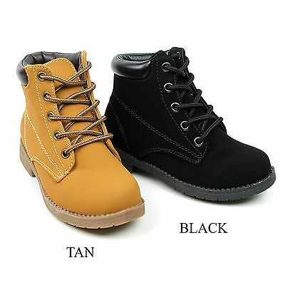 New Cute Girls Youth Kids Shoes Lace Up Combat Ankle Fashion Boot Fuchsia - Kids Combat Boot
