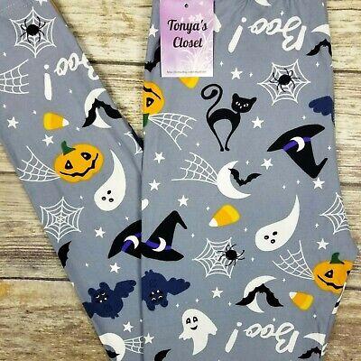 Halloween Candy Bats (Candy Corn Leggings Halloween Pumpkins Bats Buttery Soft ONE SIZE)