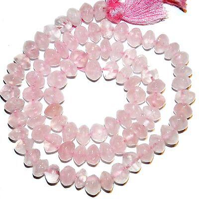 NG2098 Rose Quartz 6mm - 7mm Handcut Saucer Rondelle Natural Gemstone Beads (Saucer Natural)