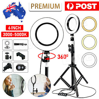 "6"" Dimmable Diva LED Ring Light Tripod Stand Selfie Mini Circle Lamp Make Up AU"