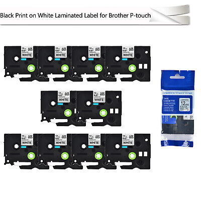 10pk Black On White Label Tape 12mm For Brother Tz-231 Tze-231 P-touch 26.2ft