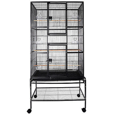 2In1 69'' Large Bird Cage Playtop Pet Supplies W/3 Perch Stands & 6 Cup Feeders