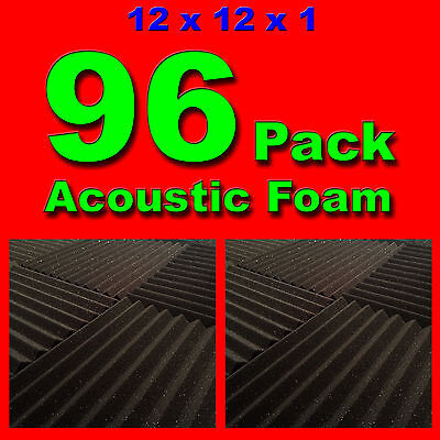 96 Pack   Acoustic Panels Studio Soundproofing Foam Wedge Tiles 1 X12 X12