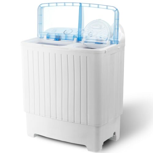17.6 lbs Compact Washing Machine Top Load Twin Tub Laundry Spin Dryer Washer