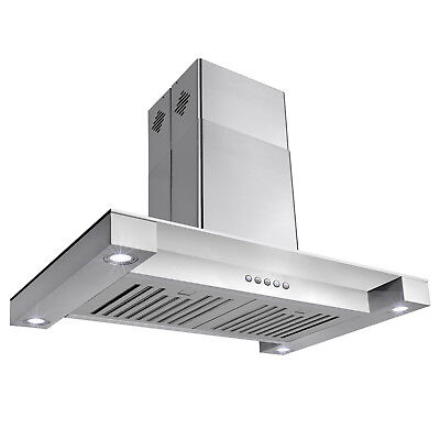 """New 30"""" Stainless Steel Island Canopy Mount Range Hood Glass Modern Contemporary"""