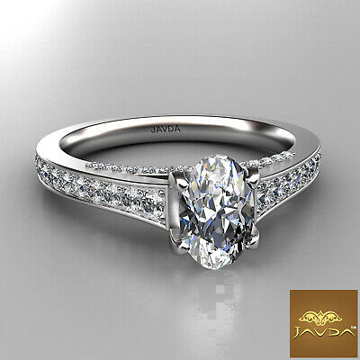 Bridge Accent Oval Diamond Engagement Cathedral Ring GIA Certified F VVS1 1.25Ct 1