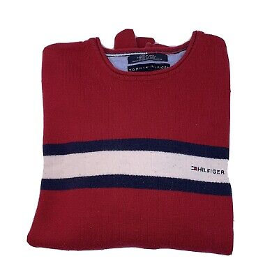 (M) Vintage TOMMY HILFIGER Sweater Roll Neck Sweatshirt Red White Blue Stripe