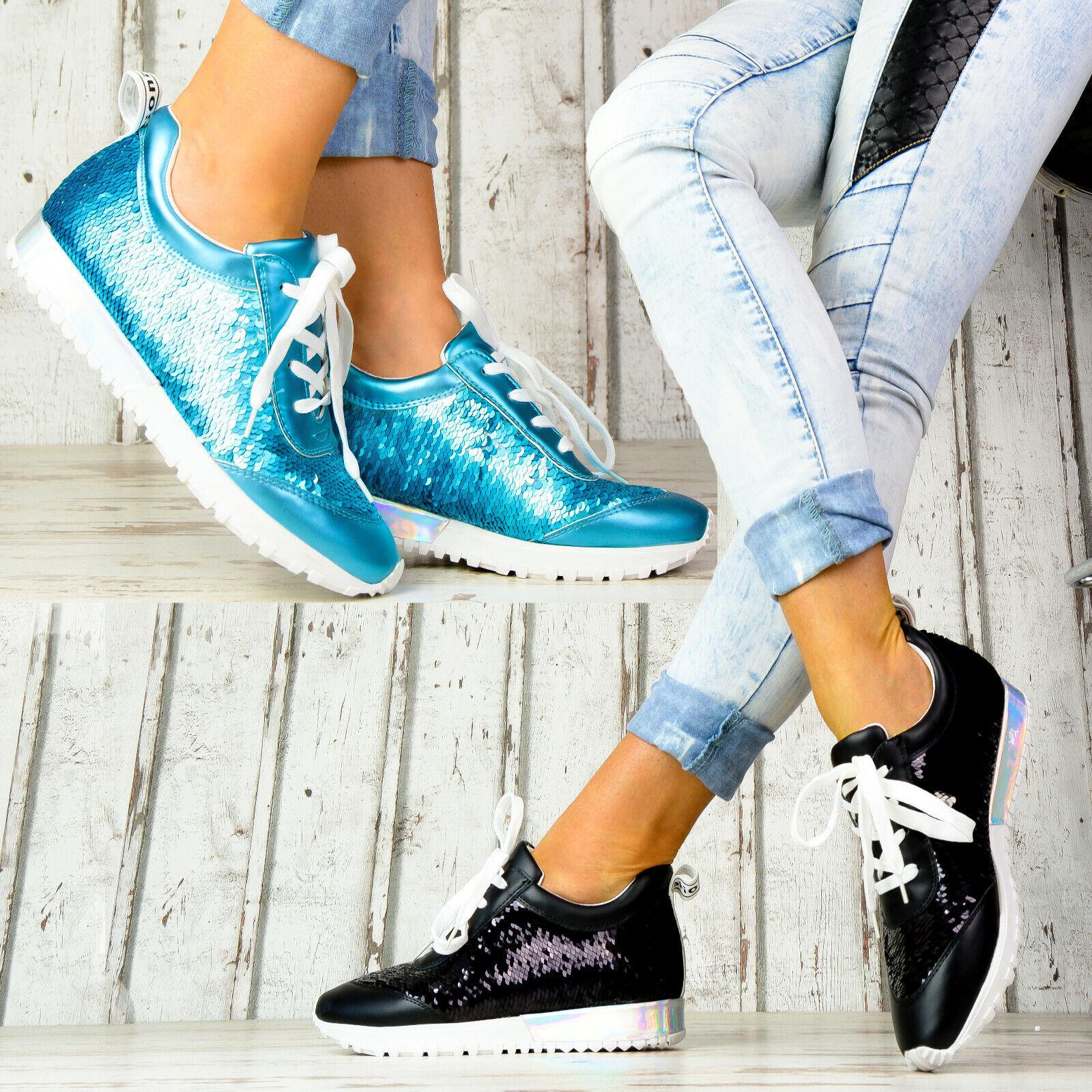 Neu Damen Sneaker Sport Damenschuhe Designer Glitzer Metallic Holo Freizeit