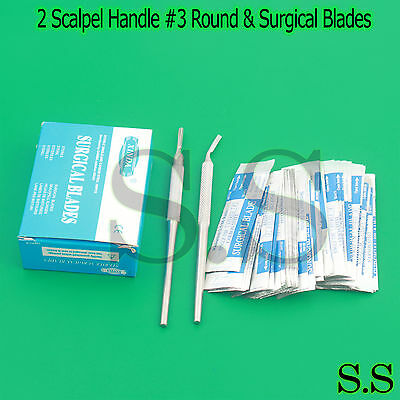200 Scalpel Blades 15 2 Scalpel Handle 3 Round Surgical Dental Instruments