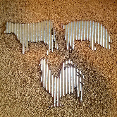 Art Tin - 3 Corrugated Tin Wall Art Barnyard Farmhouse Decor Rooster 🐓 Cow 🐄 Pig 🐖