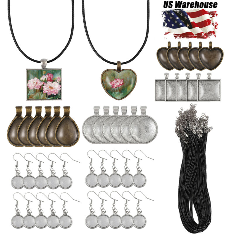 DIY Jewelry Making Kit-48X Pendant Tray-20X Earring Tray-50X Waxed Necklace Rope