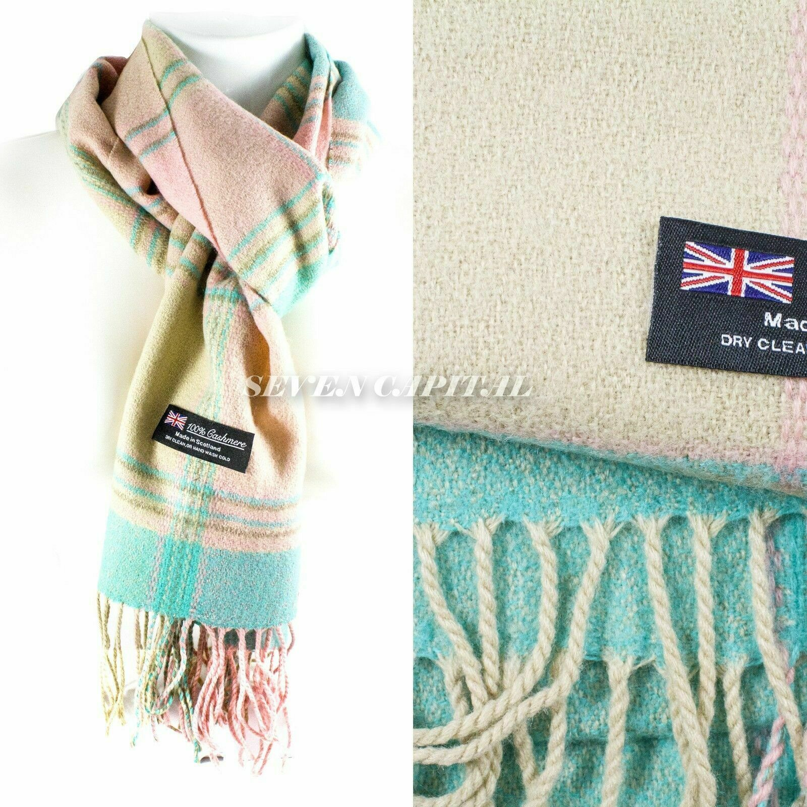 Mens Womens Winter Warm SCOTLAND Made 100% CASHMERE Scarf Scarves Plaid Wool 50. Multiple: Pink/TEal