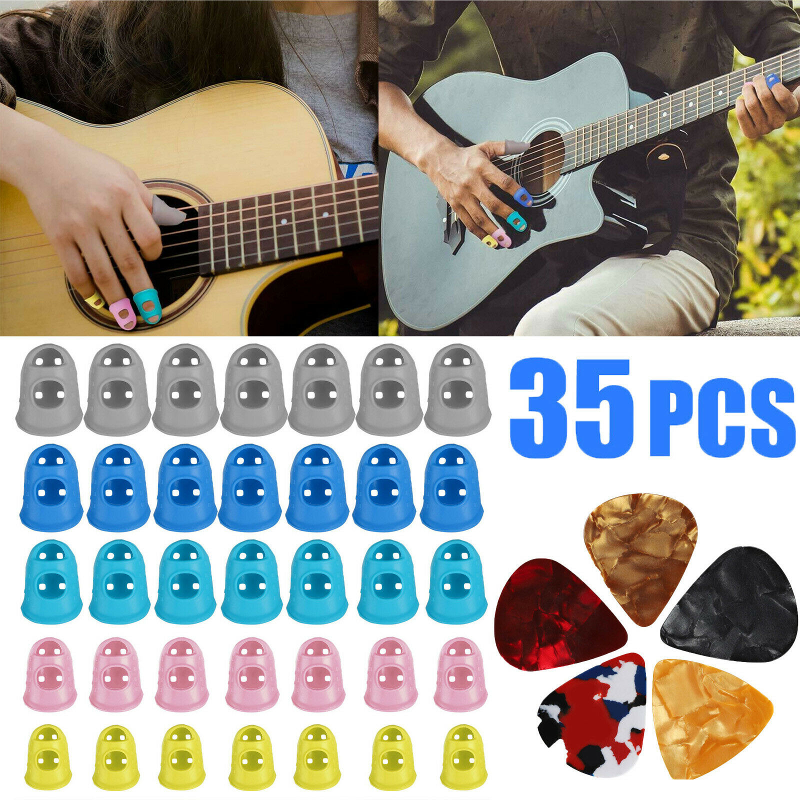 35-pcs-guitar-silicone-finger-protector-fingertip-covers-caps5-guitar-picks-new