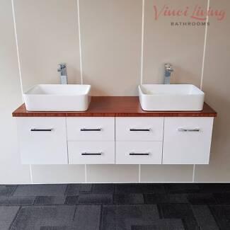 1.5M Wall Hung Vanity Unit Coffee Bamboo Top Ceramic Basin