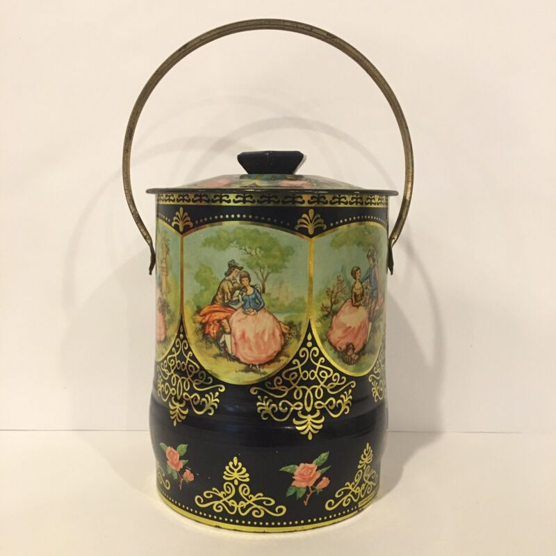 Vintage Tin Container Made In England Limoge Style