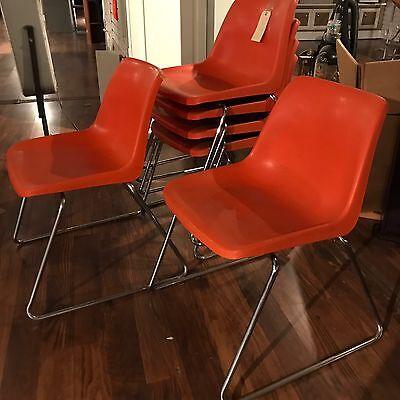 Vintage Howell Chair Set Chrome Legs USA  Mid Century Modern Orange Set 6 Pc