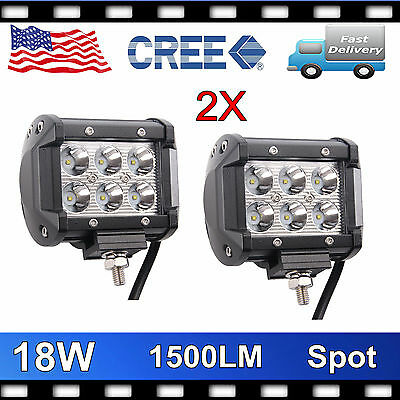 2X CREE 18W LED Work Light Bar Spot Beam Lamp Truck Driving Boat 4inch VS 16/24W