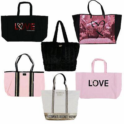 Victoria's Secret Tote Bag Large Shopper Bling Logo Carry All Travel Vs New -