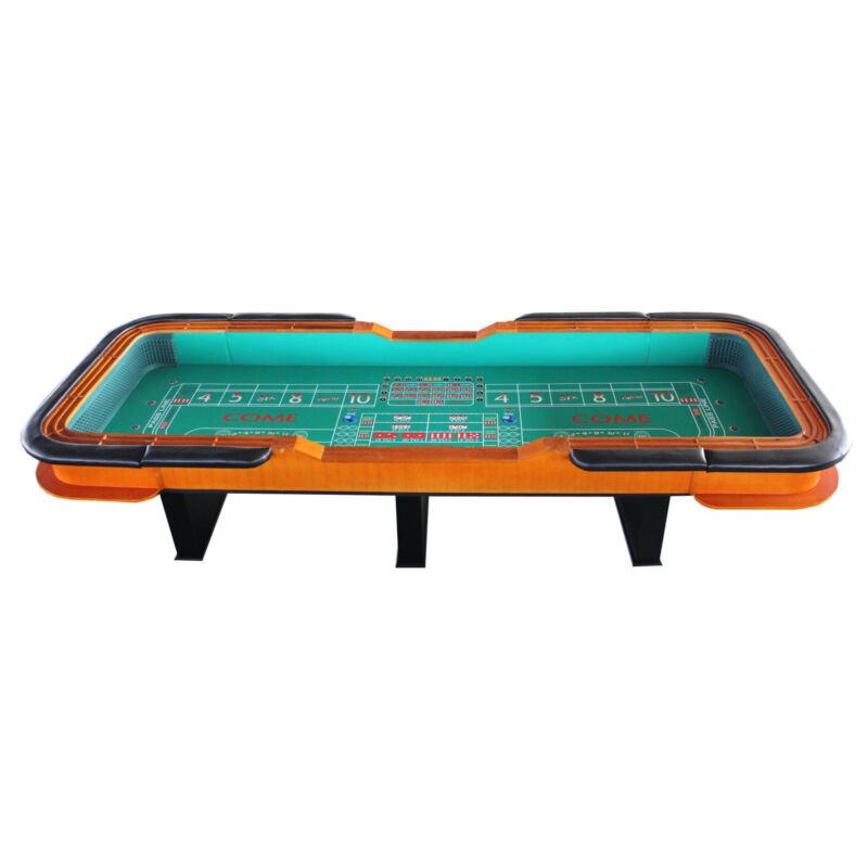 """137"""" (11.5 ft.)  portable Craps Table, dice rubber both ends: green or blue felt"""