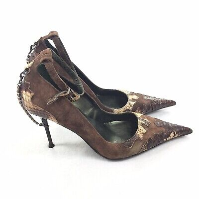 Steve Madden Suede Jeweled Pumps Size 9 Womens Dark Brown Ankle Strap High -
