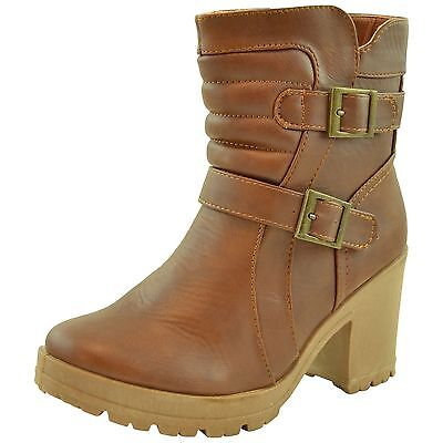 Womens Chunky Heel Western Ankle Booties w/ Buckle Accent Tan Size 5.5-10 - Western Booties