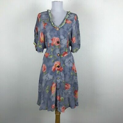 80s Dresses | Casual to Party Dresses Vintage 1980s Dress Size S M Multicolor Floral Short Sleeve Rayon Ruffles Womens $21.85 AT vintagedancer.com