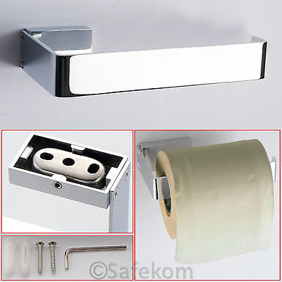Modern Bathroom Wall Mounted Toilet Roll Holder Chrome Finish Fittings Included