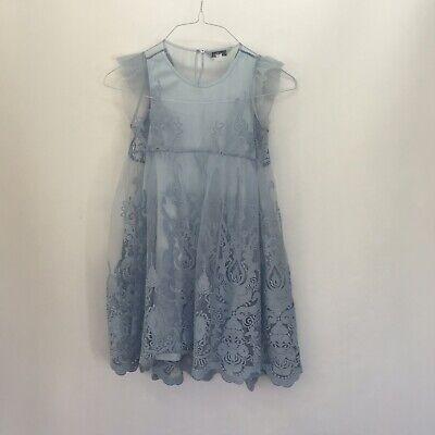 Light Blue Dress For Girl (Pippa & Julie 69323000 Big Girl Embroidery Floral Mesh Dress /Light Blue /8.)