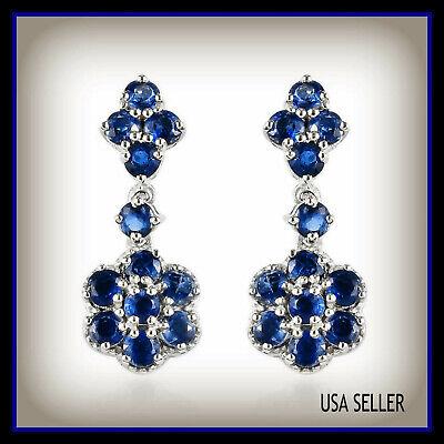 3.65 ctw Kashmir Kyanite Floral Drop Earrings in Platinum Over Sterling Silver  Floral Gemstone Earrings