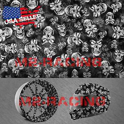 19x38 Hydrographic Film Hydro Dipping Dip Water Transfer Black White Skull 20