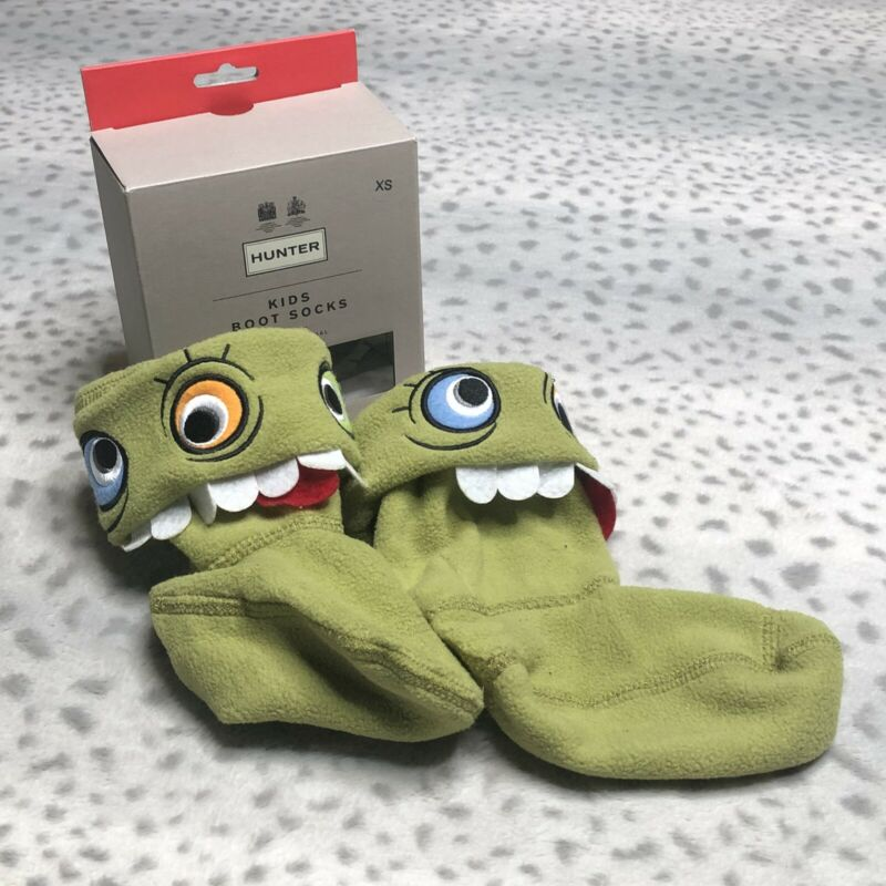 Hunter Original Kids Tall Boot Socks Cuff Size XS Alien Face Green