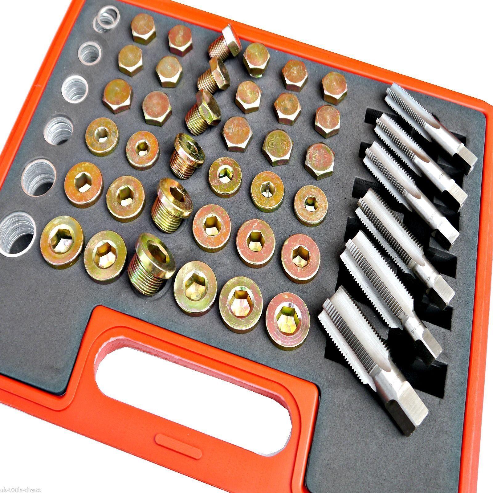 114PC OIL PAN Thread Repair Kit Sump Gearbox Drain Plug Tool Set M13 ...