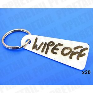 20x WHITE KEY FOB WRITE ON SOLID PLASTIC Garage Car Show Room Hotel Tags Labels
