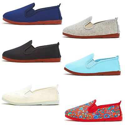 Flossy Baby Infant Kids Slip On Plimsoll Canvas Shoes in Black Blue White & Red