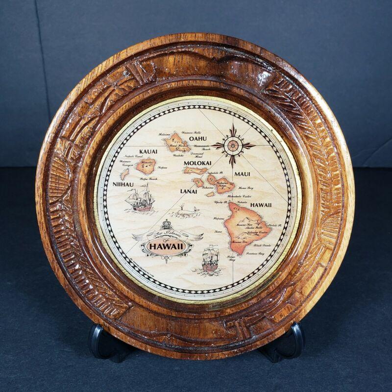 Vintage K&S Hawaiian Creations Hawaii Islands Map Décor Plate Plaque