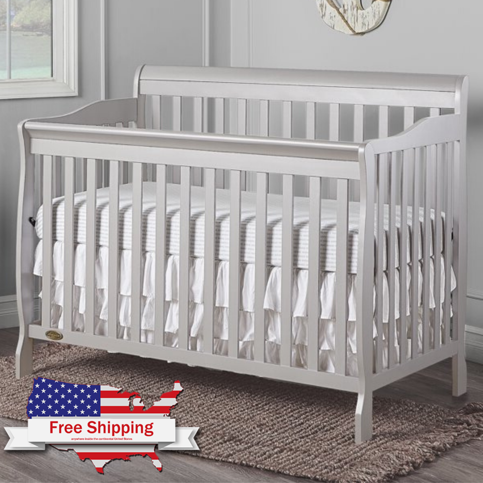 5-in-1 Convertible Baby Bed Full Size Crib Black Nursery Bed