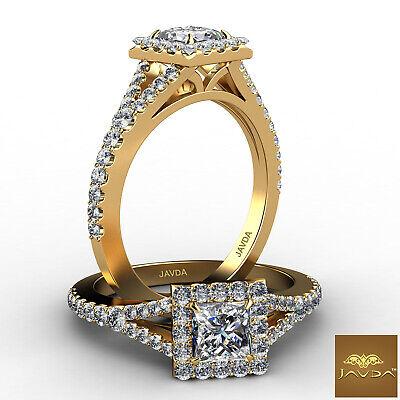 Halo Split Shank Princess Diamond Engagement French Pave Ring GIA F VVS2 1.21Ct