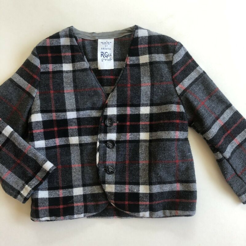 Vintage R-Gee Originals Boys Gray Plaid Blazer Jacket Size 2t Toddler