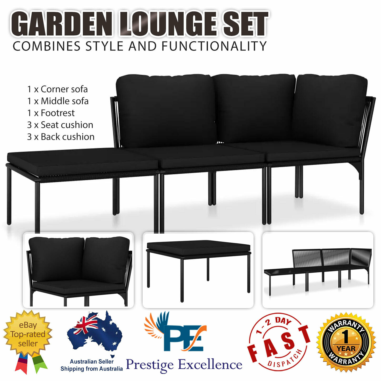 Garden Furniture - 3 Piece Garden Lounge Set with Cushions Black Outdoor Sofa Furniture Seating NEW
